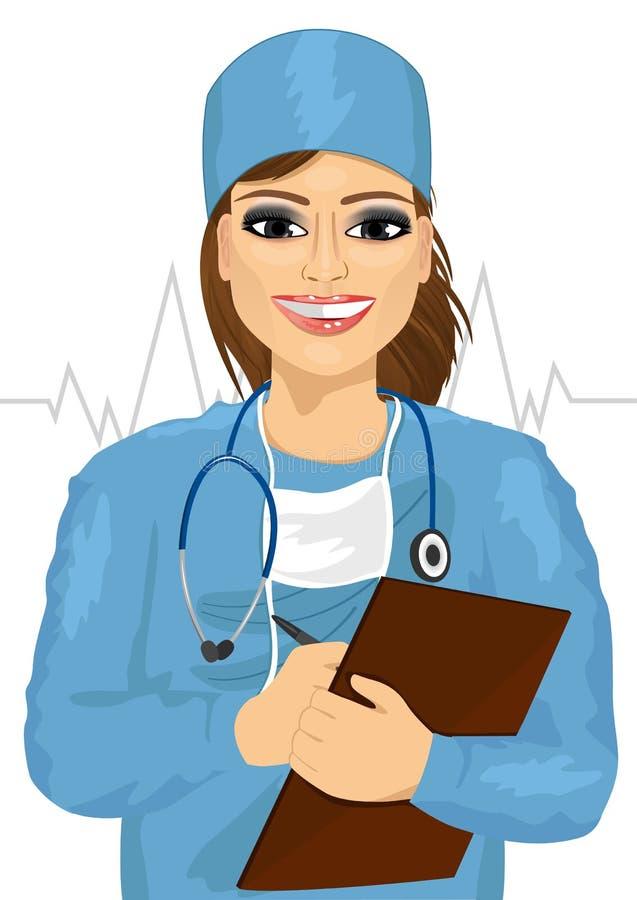 Vrouwelijke arts of verpleegster met stethoscoop die nota's nemen royalty-vrije illustratie