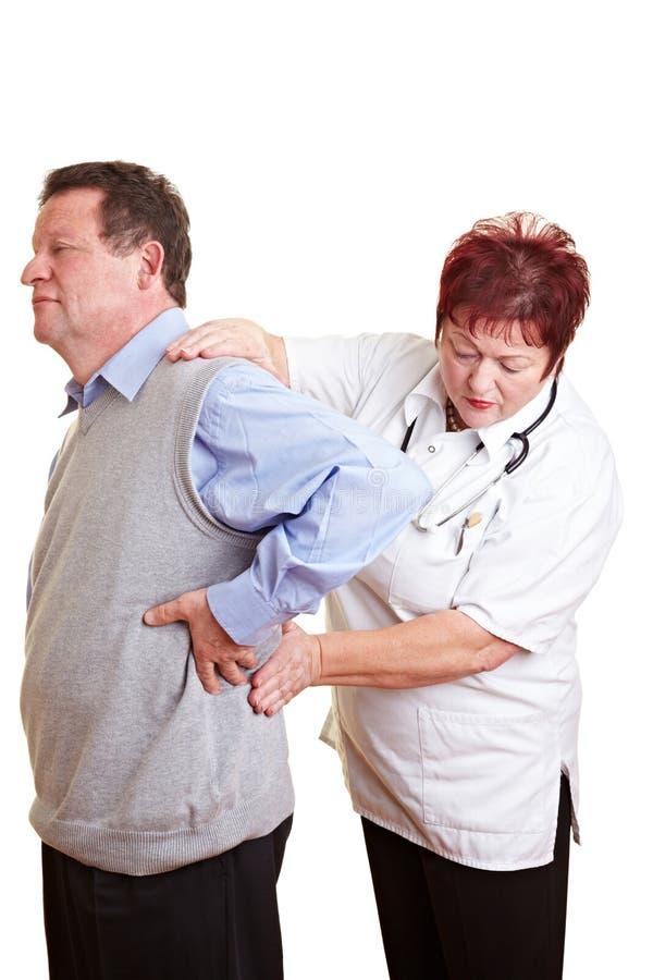 Vrouwelijke artsen examing nier royalty-vrije stock fotografie