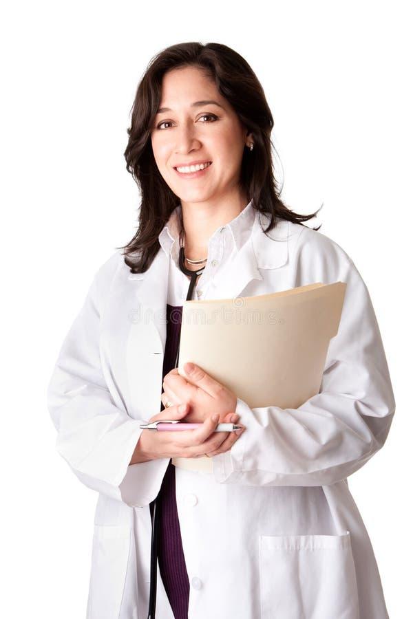 Vrouwelijke artsenarts met grafiek stock afbeeldingen