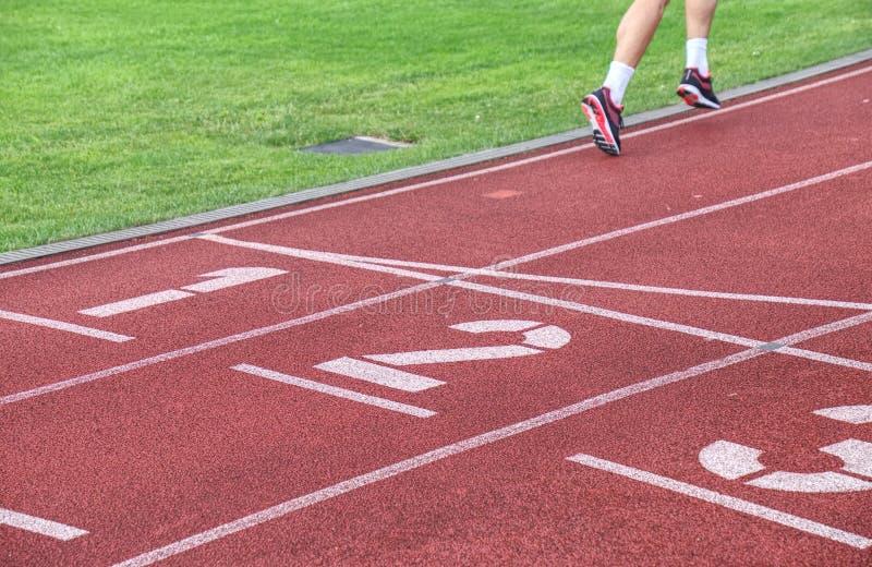 Vrouwelijke atleet die over de lijnen van een stadionspoor lopen royalty-vrije stock afbeelding