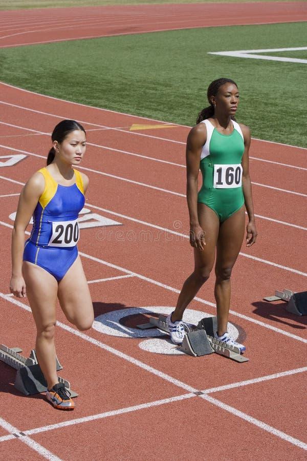 Vrouwelijke Atleten bij Startblokken royalty-vrije stock foto