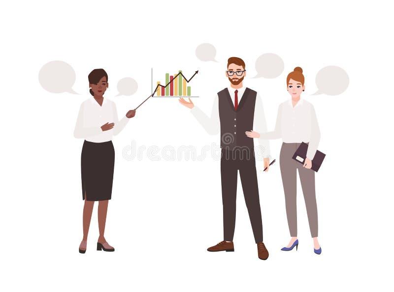Vrouwelijke beambte die presentatie voor collega's maken en aan hen spreken Het werkvergadering Managers het deelnemen stock illustratie