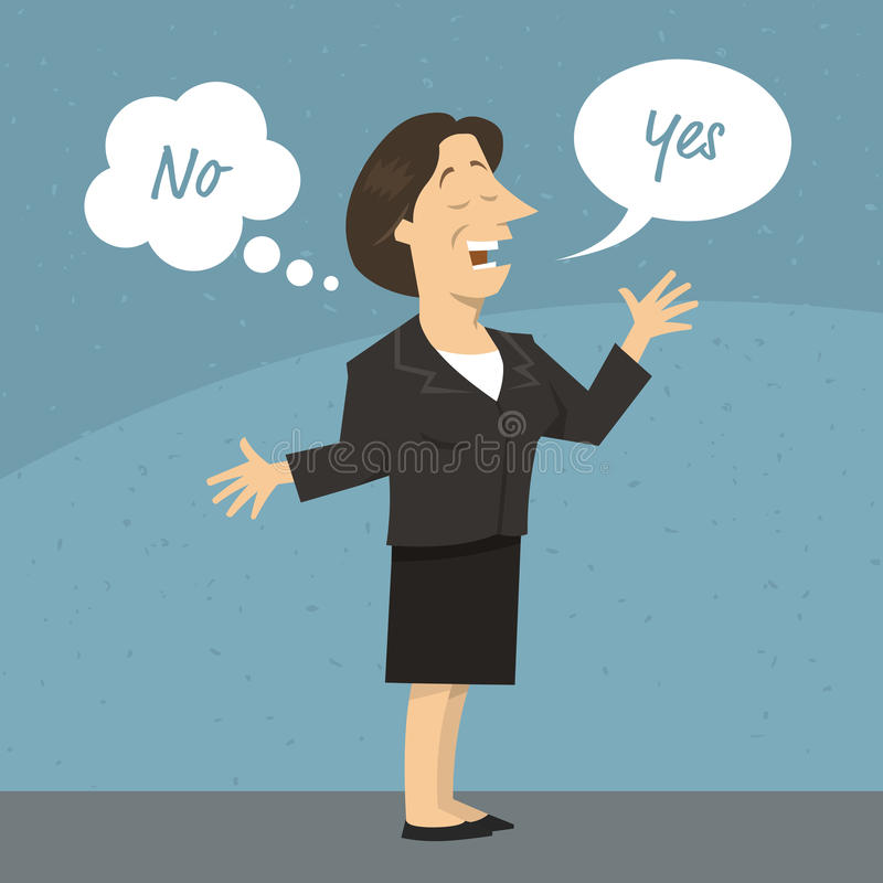Vrouwelijke bedrijfsvrouw of politicus die een leugen vertellen vector illustratie