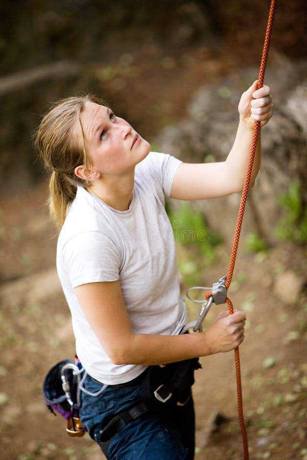 Vrouwelijke Belayer stock foto