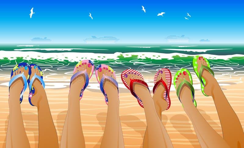 Vrouwelijke benen in gekleurde wipschakelaars stock illustratie