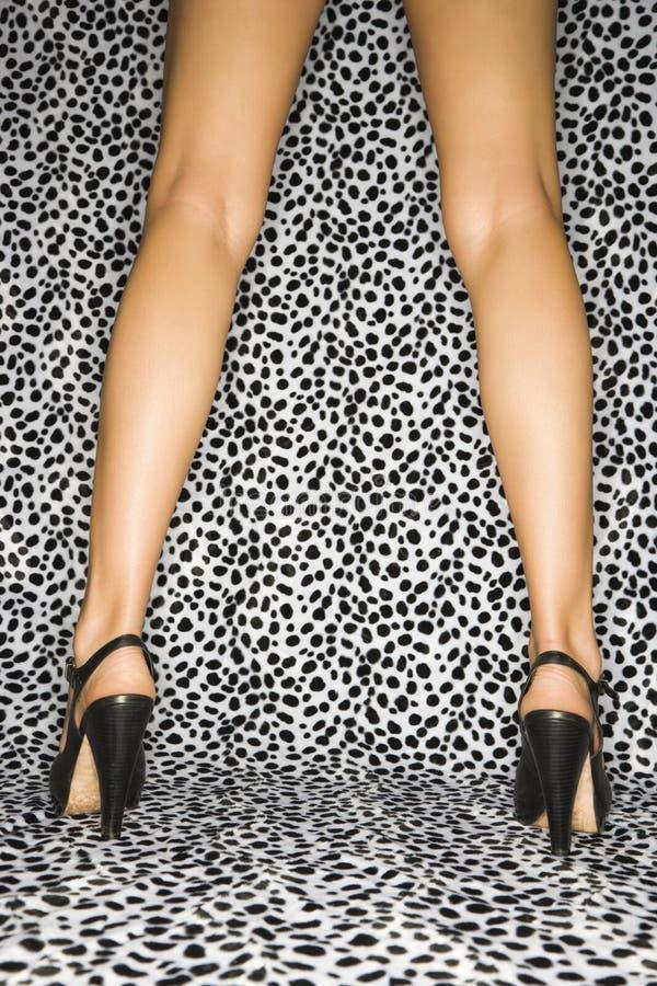 Vrouwelijke benen in hielen. stock afbeelding
