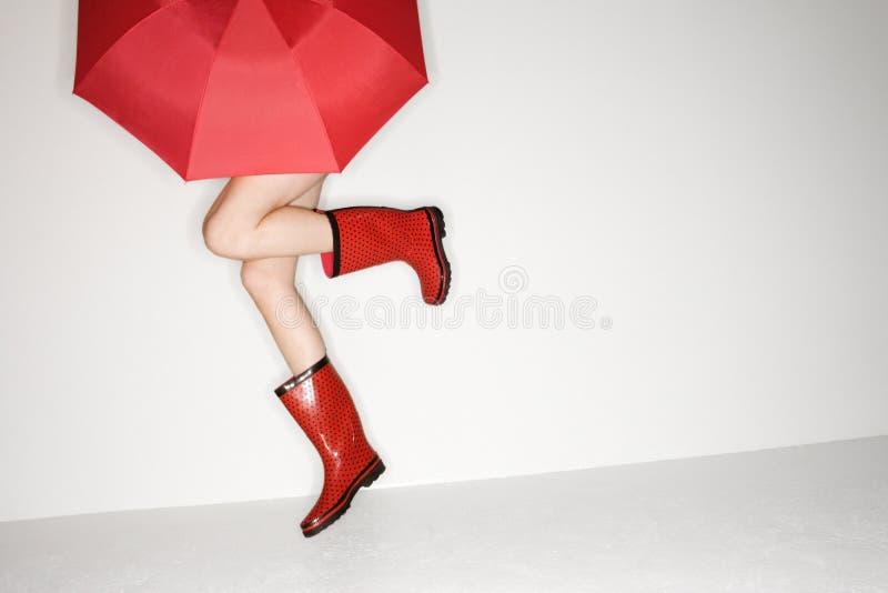 Vrouwelijke benen in laarzen. royalty-vrije stock fotografie