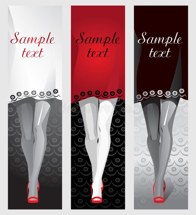Vrouwelijke benen in rode schoenen, een kleding als achtergrond voor de tekst vector illustratie