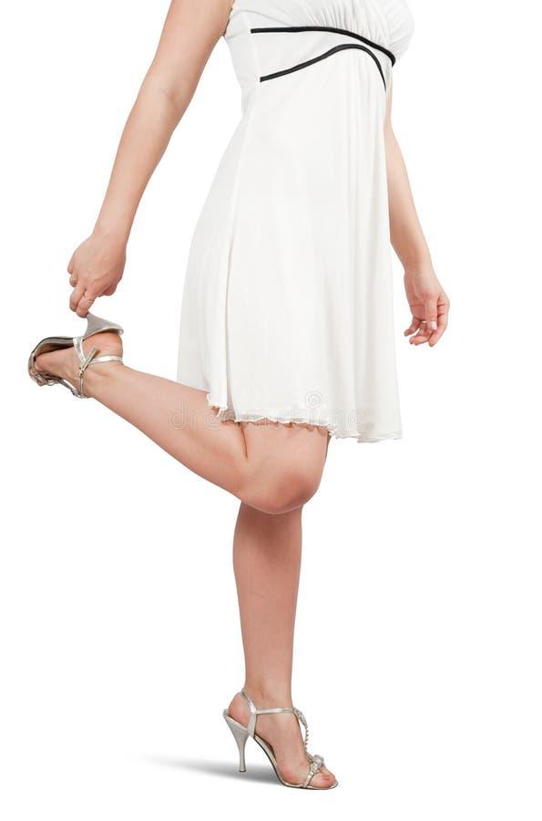 Vrouwelijke benen in schoenen royalty-vrije stock foto