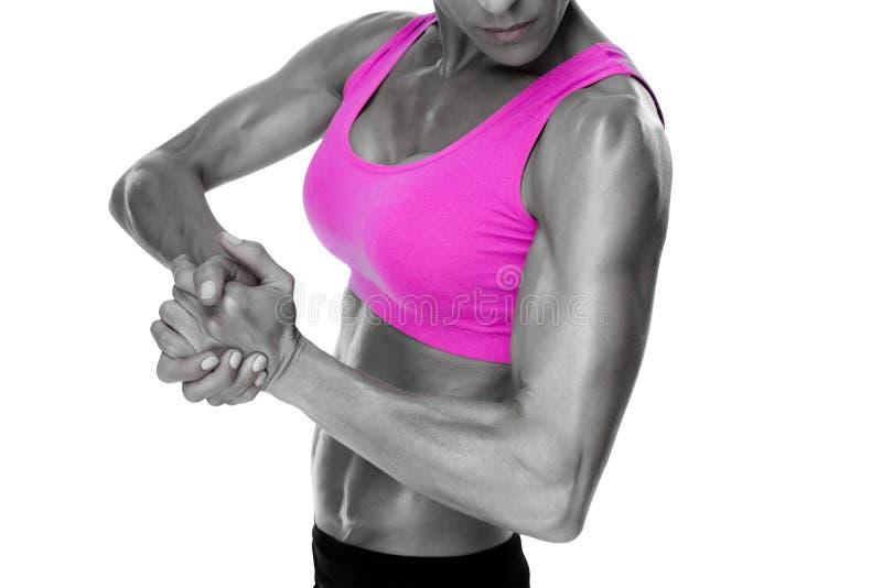 Vrouwelijke bodybuilder die medio sectie buigen royalty-vrije illustratie