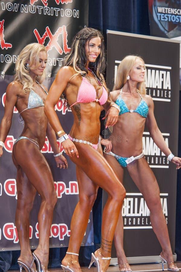 Vrouwelijke bodyfitnessmededingers die hun beste in een opstelling tonen royalty-vrije stock afbeelding