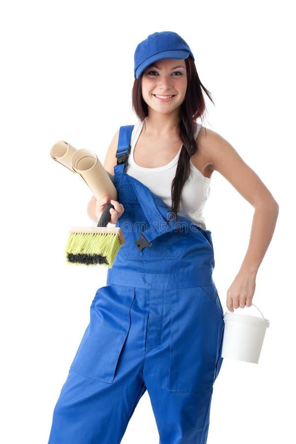 Vrouwelijke bouwvakker stock afbeeldingen