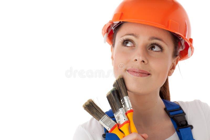 Vrouwelijke bouwvakker. royalty-vrije stock afbeeldingen