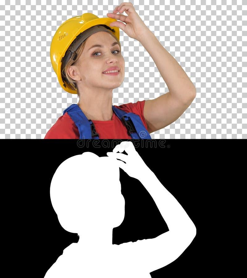 Vrouwelijke bouwvakkergroet, Alpha Channel royalty-vrije stock afbeeldingen