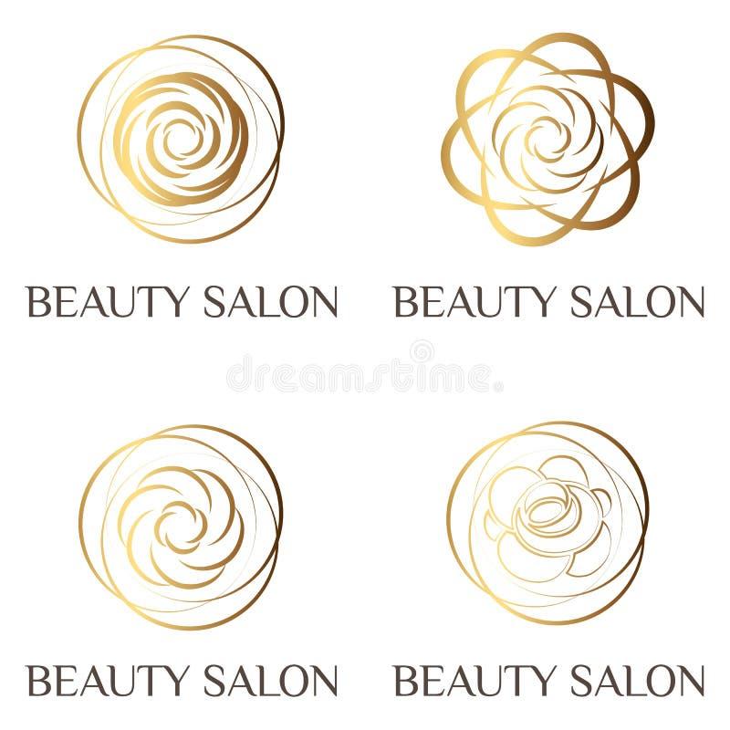 Vrouwelijke de schoonheid nam embleem, teken, symbool voor schoonheidssalon, maniersalon, kuuroordsalon, bloemwinkel toe Vlakke m stock illustratie