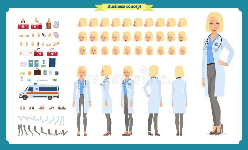 Vrouwelijke de verwezenlijkingsreeks van het Artsenkarakter Voor, zij, achtermening geanimeerd karakter De verwezenlijking van he stock illustratie