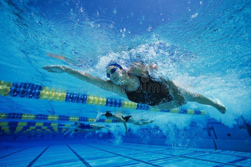 Vrouwelijke Deelnemers die in Zwemmend Ras concurreren stock foto's