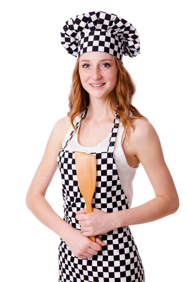 Vrouwelijke die chef-kok op het wit wordt geïsoleerd stock foto