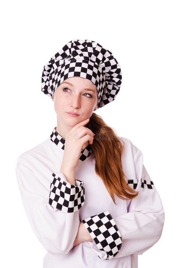 Vrouwelijke die chef-kok op het wit wordt geïsoleerd royalty-vrije stock foto
