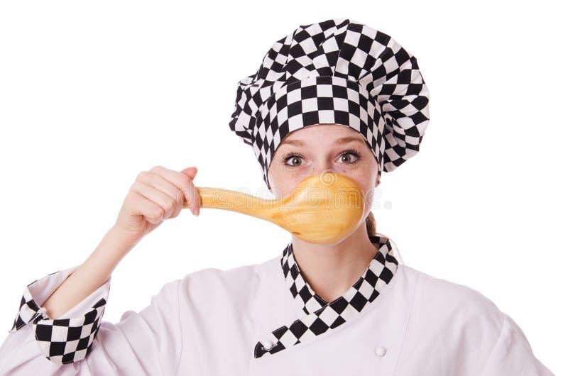 Vrouwelijke die chef-kok op het wit wordt geïsoleerd royalty-vrije stock foto's