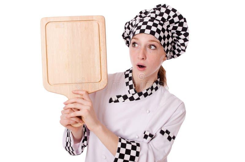 Vrouwelijke die chef-kok op het wit wordt geïsoleerd royalty-vrije stock afbeelding