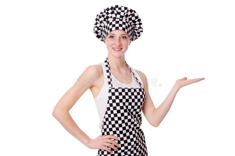 Vrouwelijke die chef-kok op het wit wordt geïsoleerd royalty-vrije stock afbeeldingen