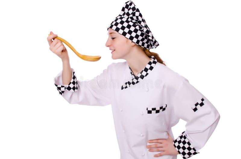 Vrouwelijke die chef-kok op het wit wordt geïsoleerd stock afbeelding