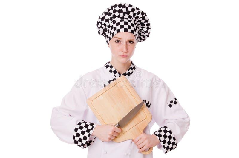 Vrouwelijke die chef-kok op het wit wordt geïsoleerd royalty-vrije stock fotografie