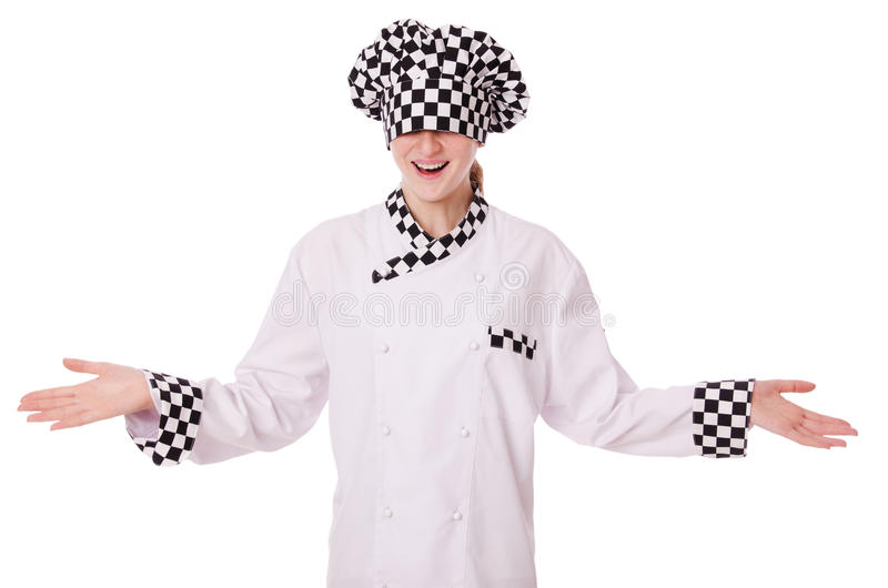 Vrouwelijke die chef-kok op wit wordt geïsoleerd stock foto