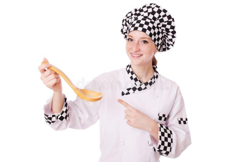 Vrouwelijke die chef-kok op wit wordt geïsoleerd royalty-vrije stock afbeeldingen