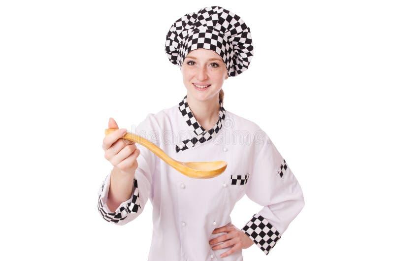 Vrouwelijke die chef-kok op wit wordt geïsoleerd stock foto's