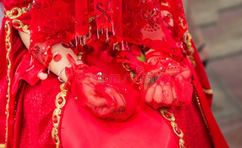 Vrouwelijke die handen decoratief door henna worden gekleurd Zet van hem indienen zijn handschoenen Het meisje droeg rode handsch royalty-vrije stock afbeelding