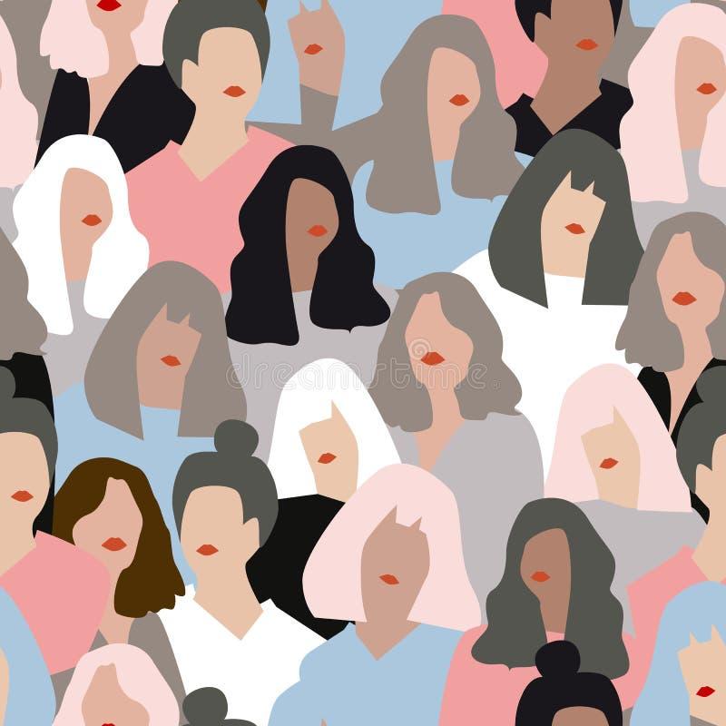 Vrouwelijke diverse gezichten, naadloos patroon stock illustratie
