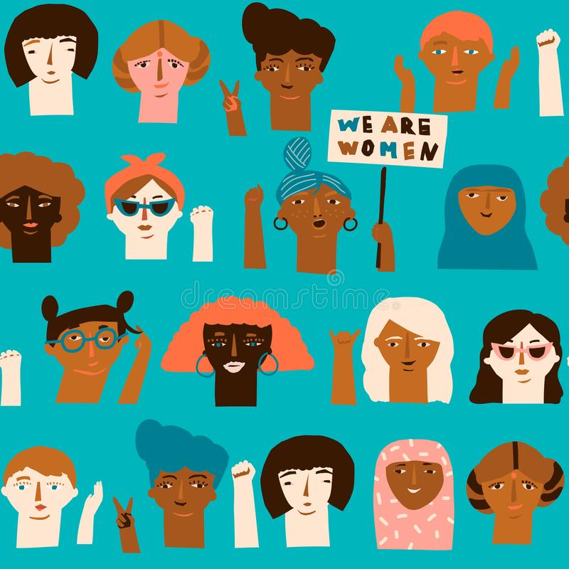 Vrouwelijke diverse gezichten van verschillend het behoren tot een bepaald ras naadloos patroon stock illustratie