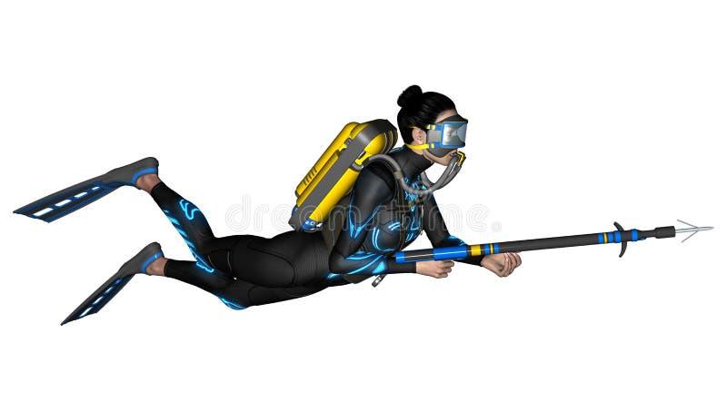 Vrouwelijke Duiker met Spear Kanon stock illustratie