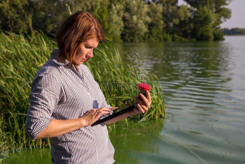 Vrouwelijke ecologist die informatie over groene die algen ingaan in rivier op tablet worden genomen stock afbeeldingen