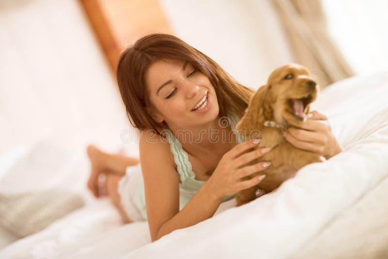 Vrouwelijke eigenaar van het puppy die zacht hem strelen in bed royalty-vrije stock afbeelding