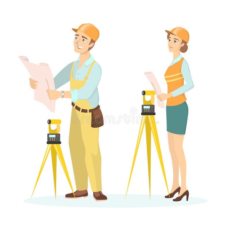 Vrouwelijke en mannelijke ingenieurs vector illustratie