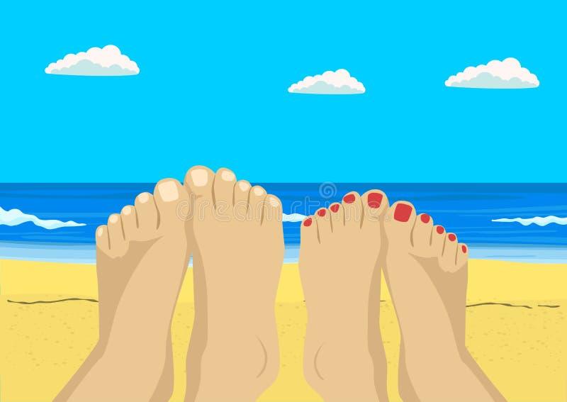 Vrouwelijke en mannelijke voeten op tropisch strand royalty-vrije illustratie