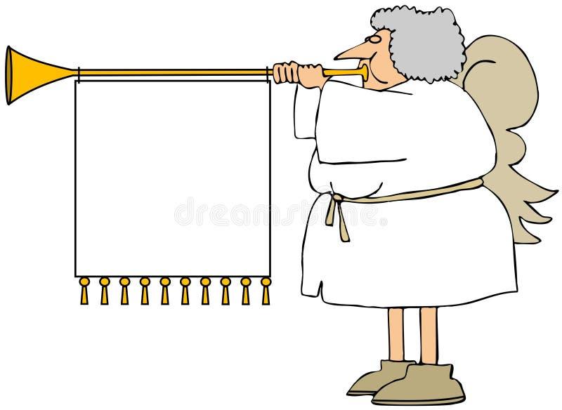 Vrouwelijke engel die een hoorn met een banner blazen stock illustratie