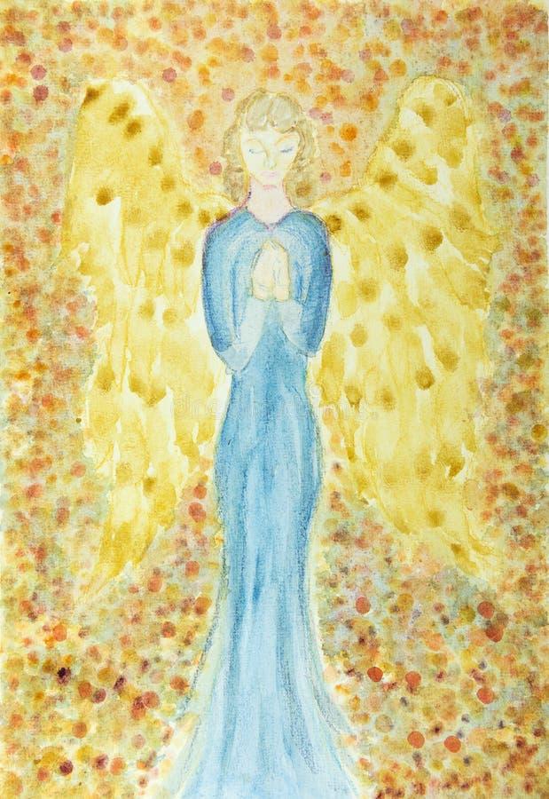 Vrouwelijke engel met het blauwe kleding bidden vector illustratie