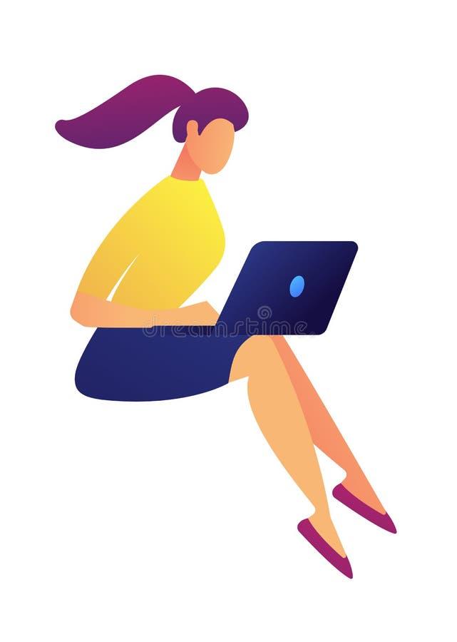 Vrouwelijke freelance ontwerper die aan laptop vectorillustratie werken royalty-vrije illustratie