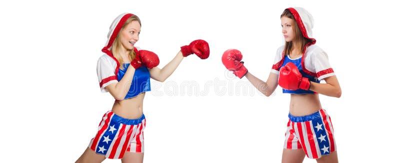 Vrouwelijke geïsoleerde boksers in eenvormig met de symbolen van de V.S. royalty-vrije stock afbeeldingen
