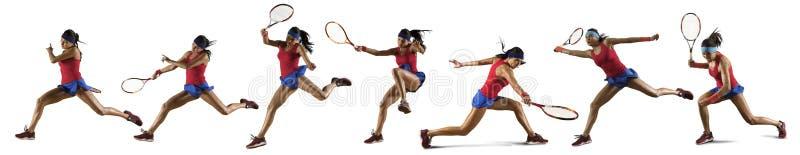 Vrouwelijke geïsoleerde tennisspeler stock fotografie