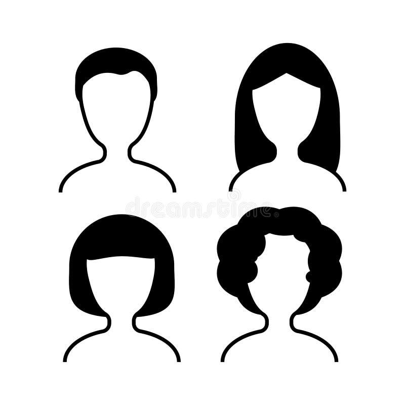 Vrouwelijke gebruikers vectorpictogrammen stock illustratie