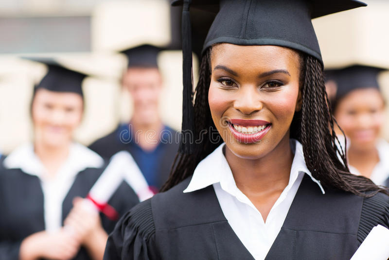 Vrouwelijke gediplomeerde dichte omhooggaand royalty-vrije stock afbeeldingen