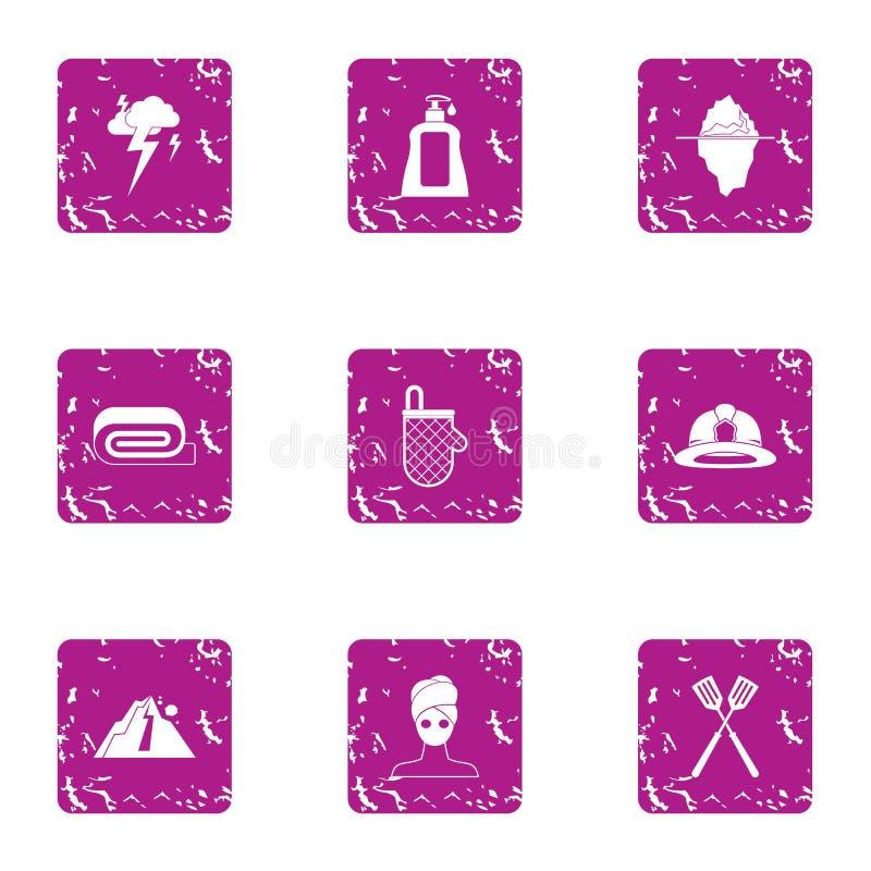 Vrouwelijke geplaatste handelspictogrammen, grunge stijl vector illustratie
