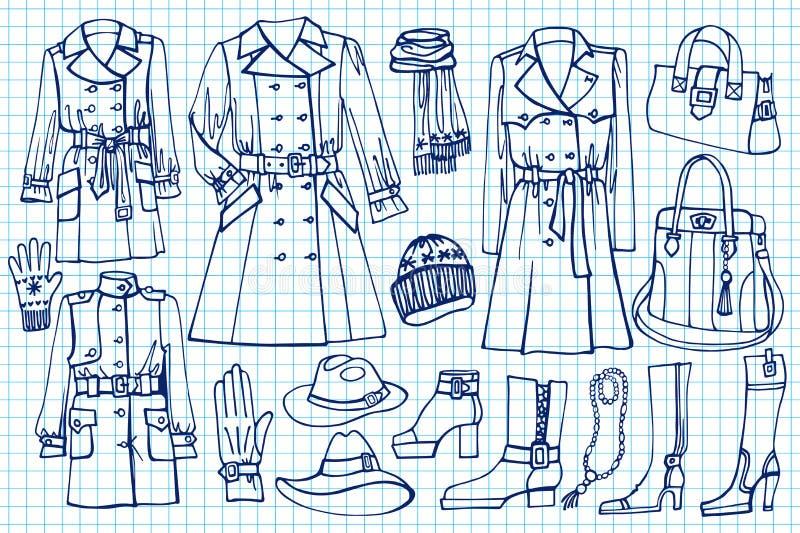 Vrouwelijke geplaatste kleren Manierslijtage op Schetsmatig vector illustratie