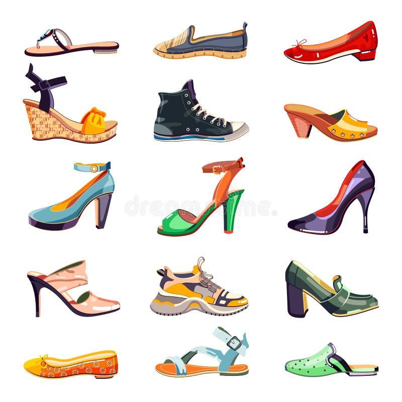 Vrouwelijke geplaatste manierschoenen Vector beeldverhaalillustratie Inzameling van het de zomer de in die schoeisel, op witte ac stock illustratie