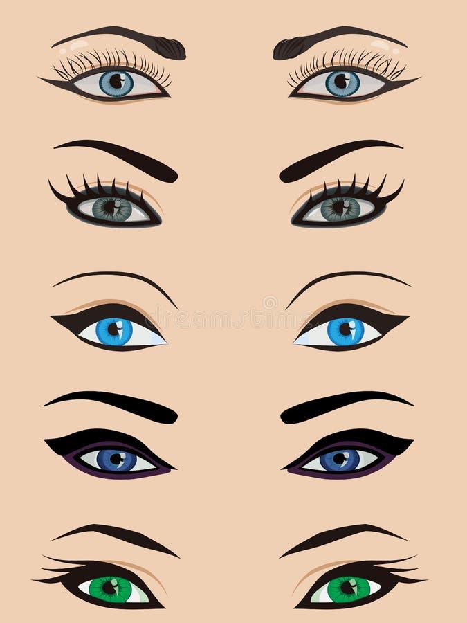 vrouwelijke geplaatste ogen stock illustratie
